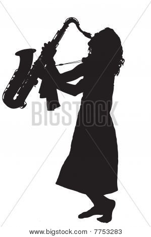 Barefoot young woman saxophone player