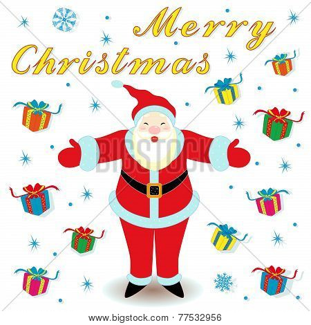 Marry Christmas With Santa Claus And Gifts