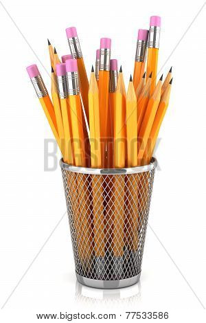 Graphite Pencils In Basket Isolated On White Background