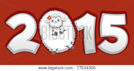 Year Of The Sheep 2015 Chinese Zodiac Vector.