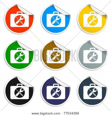 Set Of Blank Stickers. Toolbox Vector. Vector Illustration.