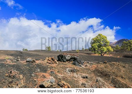 The Hardened Lava Of The Volcano On The Background Of Blue Sky.