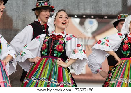 Folk Dancers From City Of Lowicz And Traditional Costumes, Poland