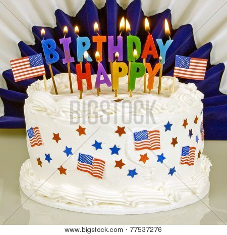 Happy July 4th Birthday Cake Lit Candles