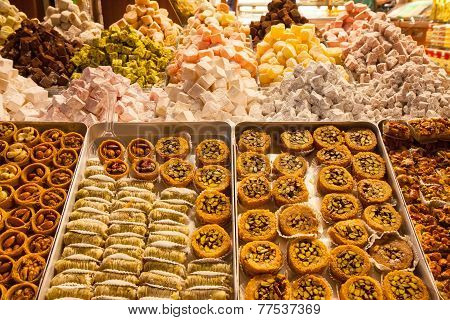 Turkish delight sweets at the Spice Market in Istanbul Turkey