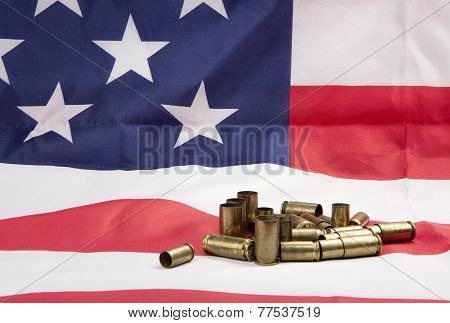 Pile Of Spent Casings On The Flag.