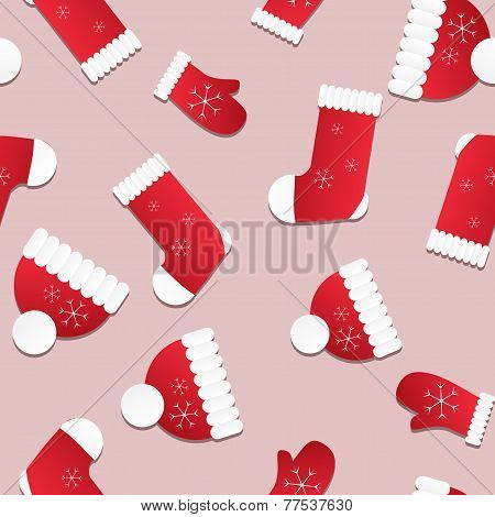 Seamless Christmas Pattern. Endless Texture With Red Hats, Mittens And Socks.