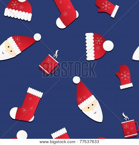 Seamless Texture With Santa And Red Caps, Mittens, Socks