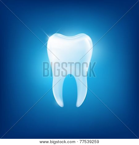 Vector tooth on blue background,