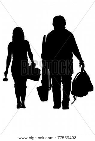 Couples people whit bag on white background