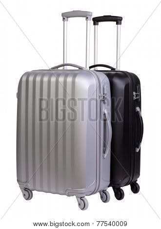 Modern suitcases isolated on white background