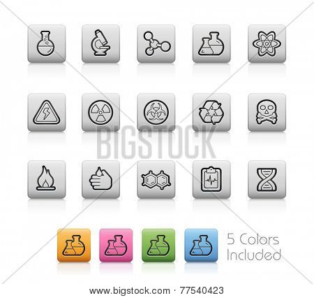 Science Icons // Outline Buttons -- Each color in a layer. To see the desired color, you need to make it visible in the layer panel - EPS 10+ Contain Transparencies