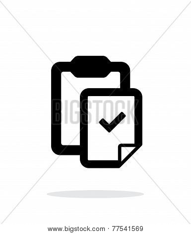 Check file with clipboard simple icon on white background.