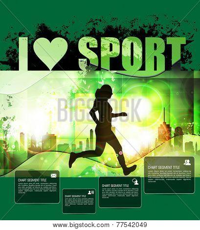 Marathon runner. Vector illustration. Background for poster