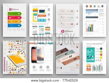 Set of Flyer, Brochure Design Templates. Geometric Triangular Abstract Modern Backgrounds. Mobile Technologies, Applications and Online Services Infographic Concept. A4 Cover Templates Collection.