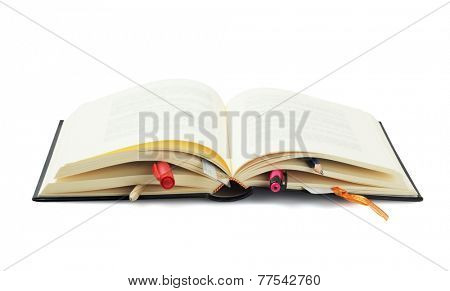 Open Book Bookmarked with Stationery On White Background