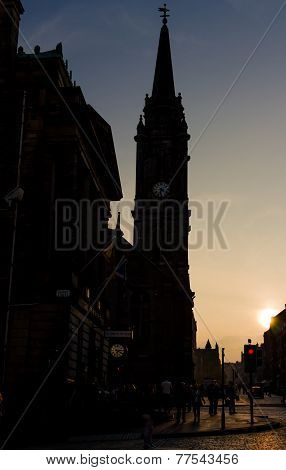 Sunset At The Royal Mile In Edinburgh, Scotland