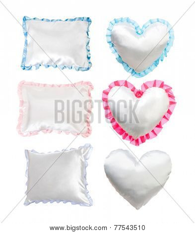 set of different white pillows on a white background