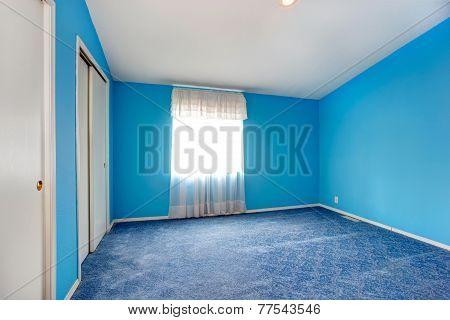 Emtpy Bright Blue Bedroom Interior
