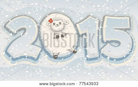 Year Of The Sheep 2015 Chinese Cute Zodiac Vector