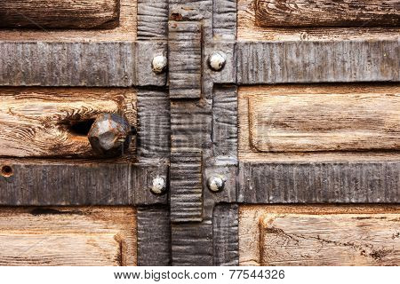 Old Wooden Door, Wrought Iron Stylized Medieval, Blur Perspective