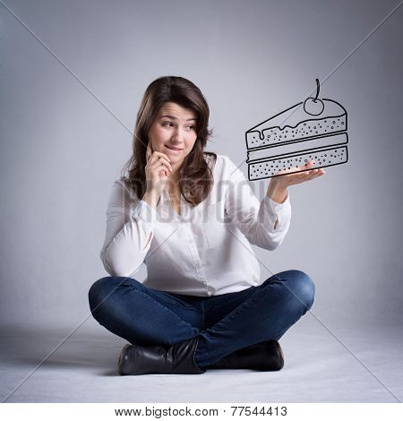 Girl Dreaming About Eating Cake