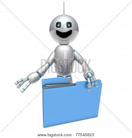 Cartoon Robot With A Folder