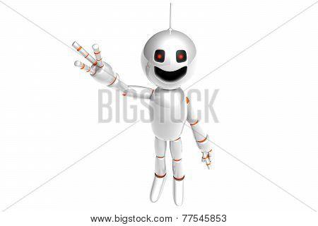 A Waving Cartoon Robot.