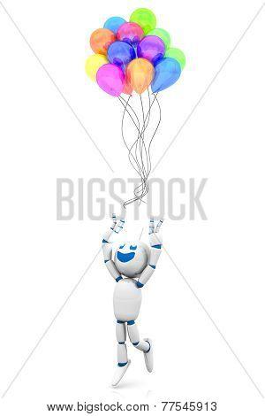 Cartoon Robot Losing Its Balloons.