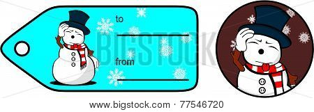 snowman cartoon xmas giftcard