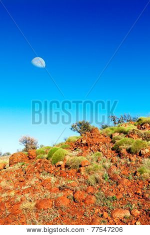 Soft Green Bushes On Orange Hillside In Australian Outback With A Moon In Blue Sky