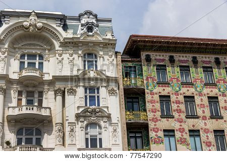 the viennese row houses at the viennese naschmarkt. architecture of otto wagner in vienna, austria