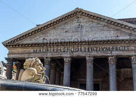 italy, rome, pantheon. with fountain. old building