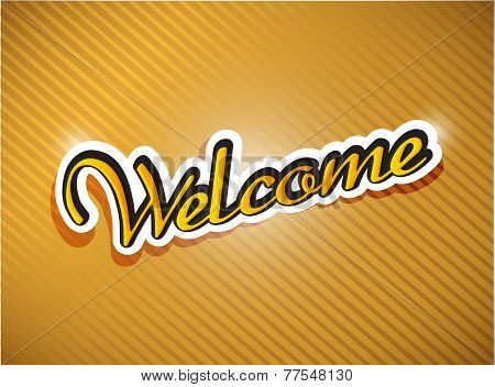 Gold Welcome Card Illustration Design