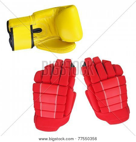 boxing gloves and Hockey glove under the white background