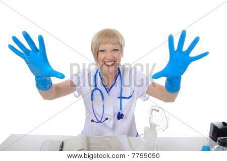 Doctor In Blue Gloves.