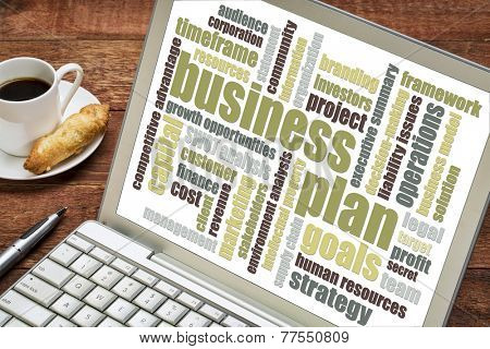 business plan word cloud on laptop with cup of coffee