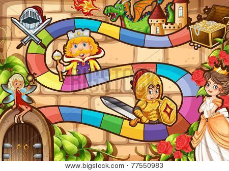 Illustration of a boardgame with fairytale background