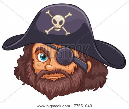 Illustration of a head of a pirate