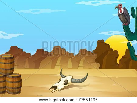 A desert with a dead animal beside the wooden barrels