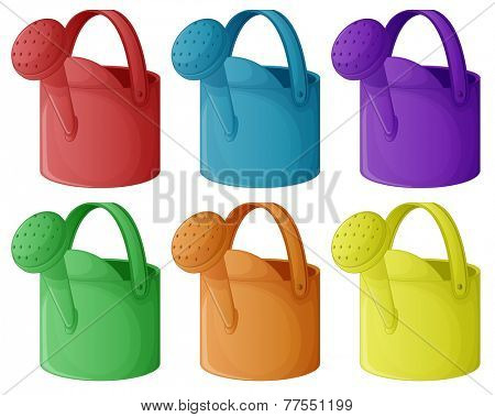 Six colourful sprinklers on a white background