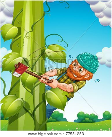 Old man trying to cut beanstalk