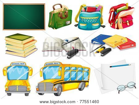 Sets of school supplies on a white background