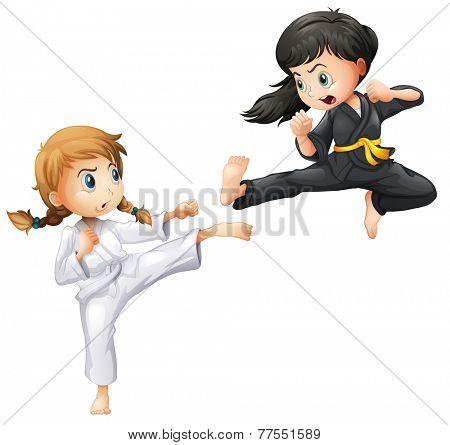 Illustration of girls doing karate
