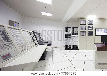 surveillance control room interior of airport