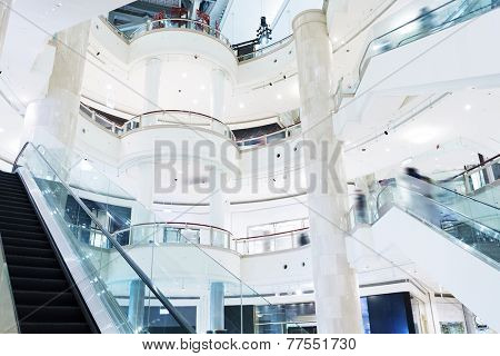 shopping mall center hall and escalator