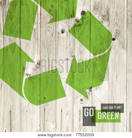 Reuse sign on wooden texture, vector template. Raster version