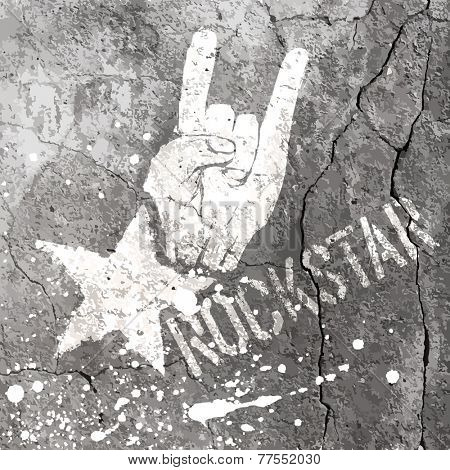 Rockstar symbol with sign of the horns gesture. Vector template with concrete texture. Raster version