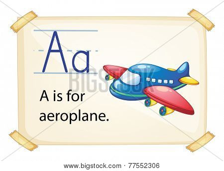 Illustration of a flashcard letter A