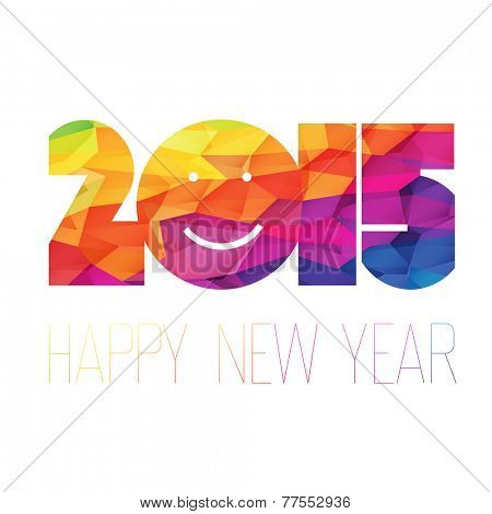Happy New Year 2015 Greeting Colorful. Raster version